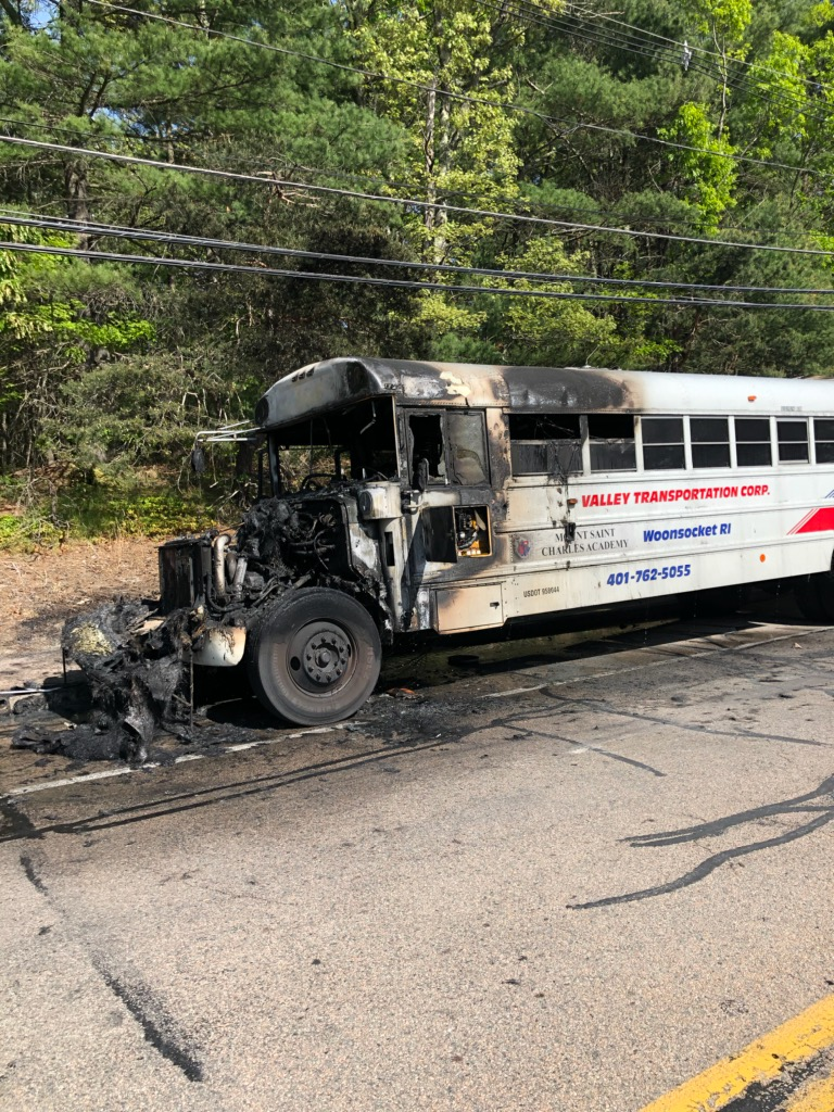 Charter bus catches fire in Bellingham with 5 R I  students