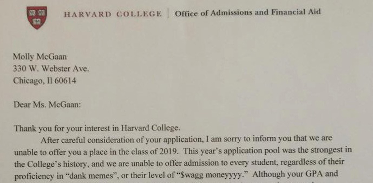 Student behind faux Harvard rejection letter gets real one - The