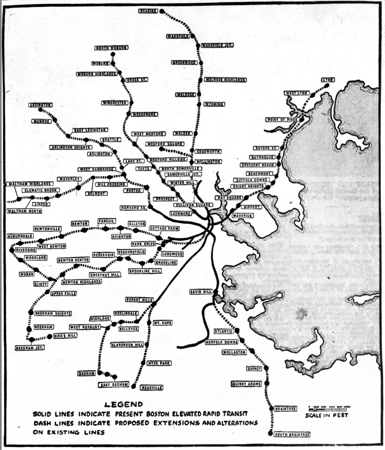 map of boston mbta A Visionary Plan For The Mbta S Future From 1947 The Boston Globe map of boston mbta