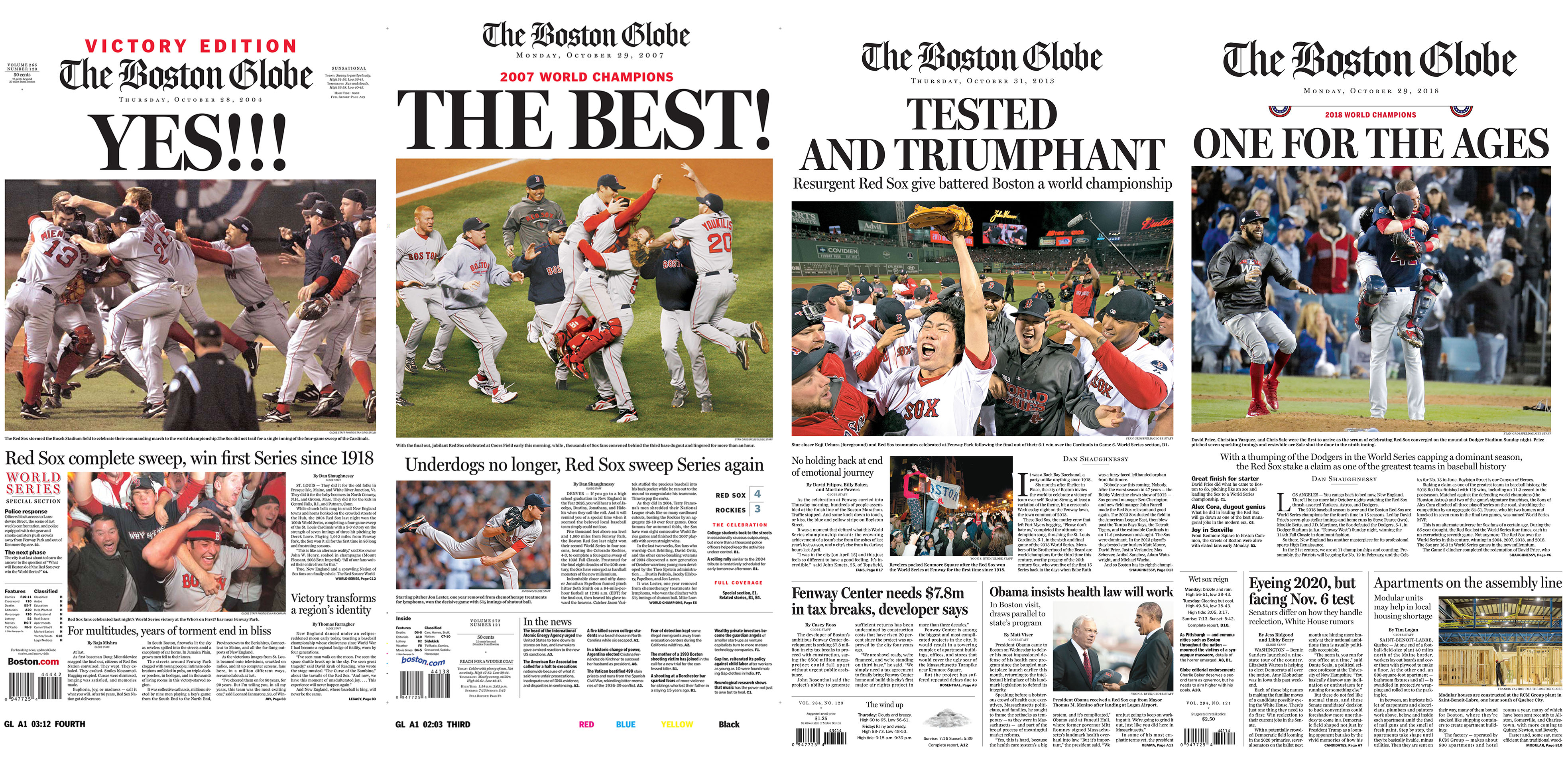 See Globe front pages from past Red Sox championships - The