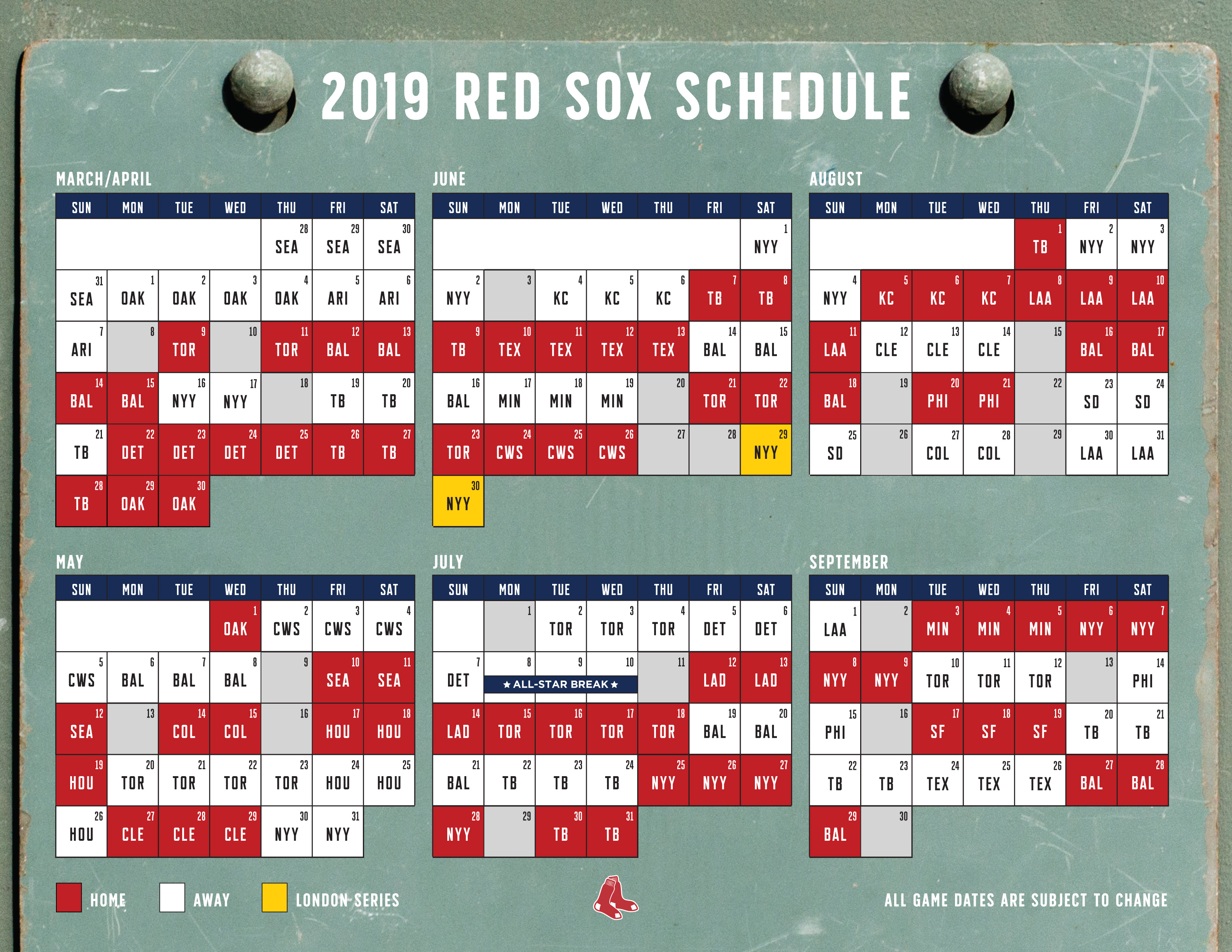 Red Sox 2019 Schedule Begins With 11 Game West Coast Road Trip