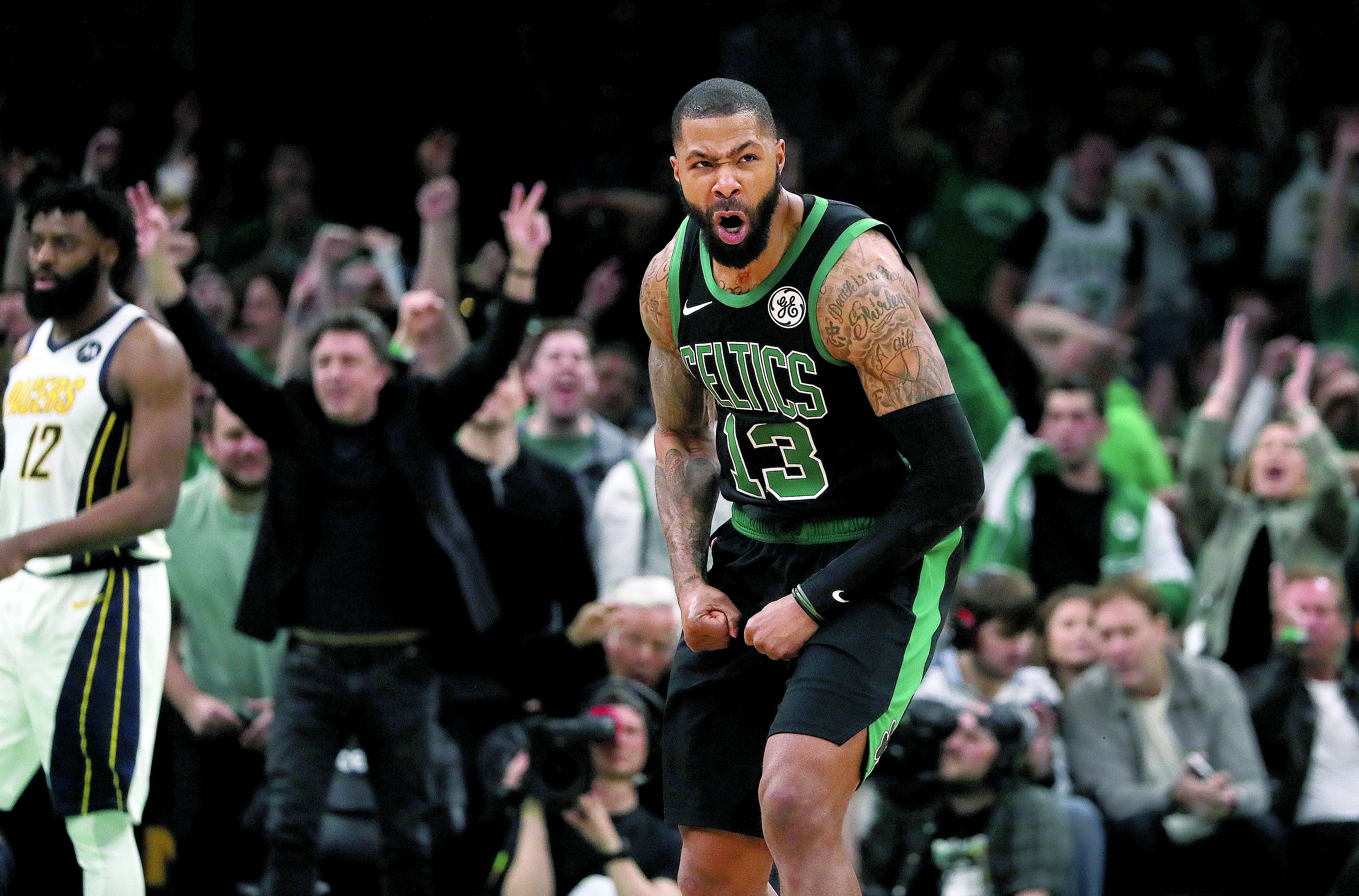 los angeles 2802c cf54d The Celtics needed an early lift, and Marcus Morris was the ...