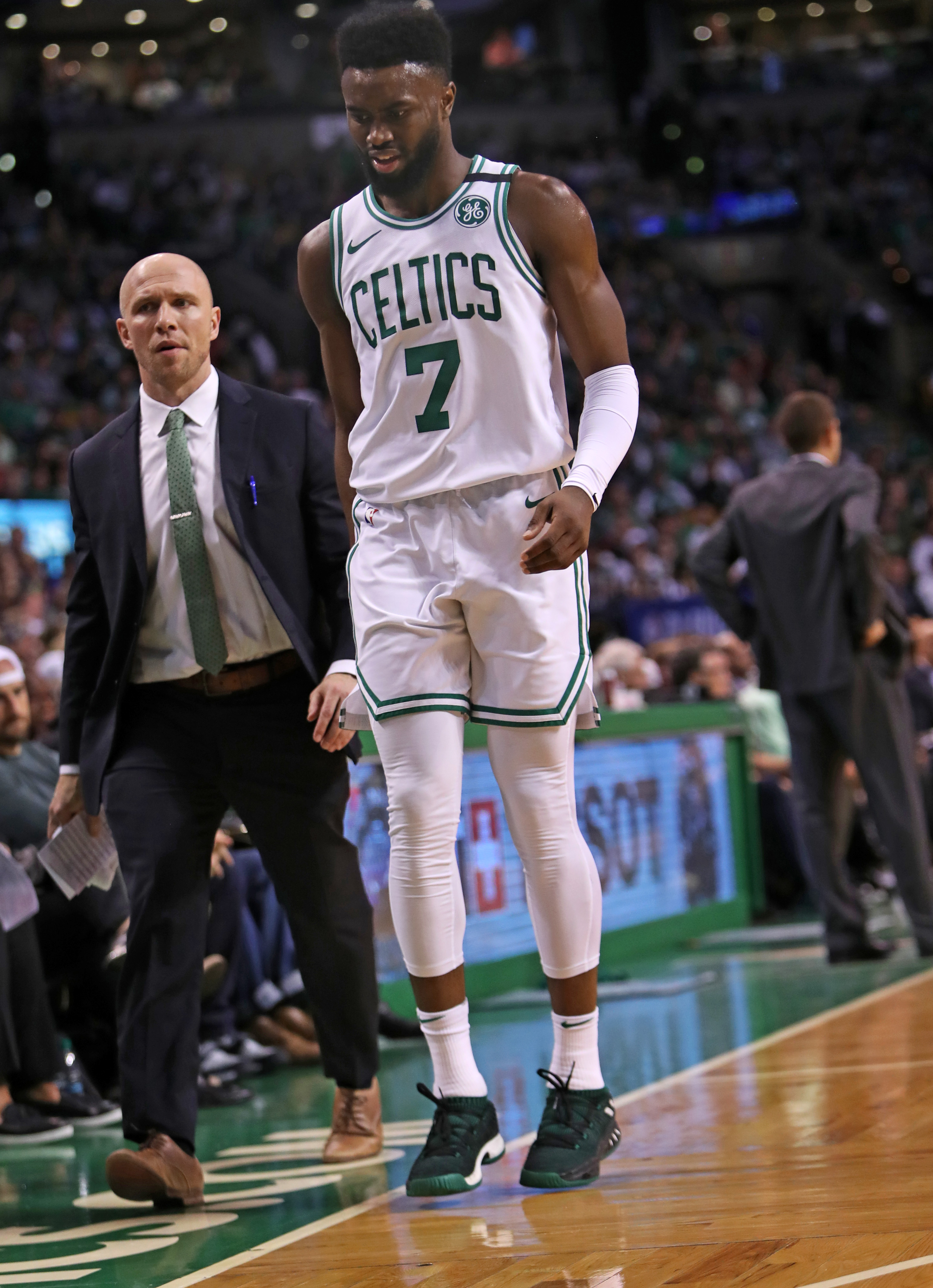 1384595856 Jaylen Brown dealing with hamstring strain - The Boston Globe