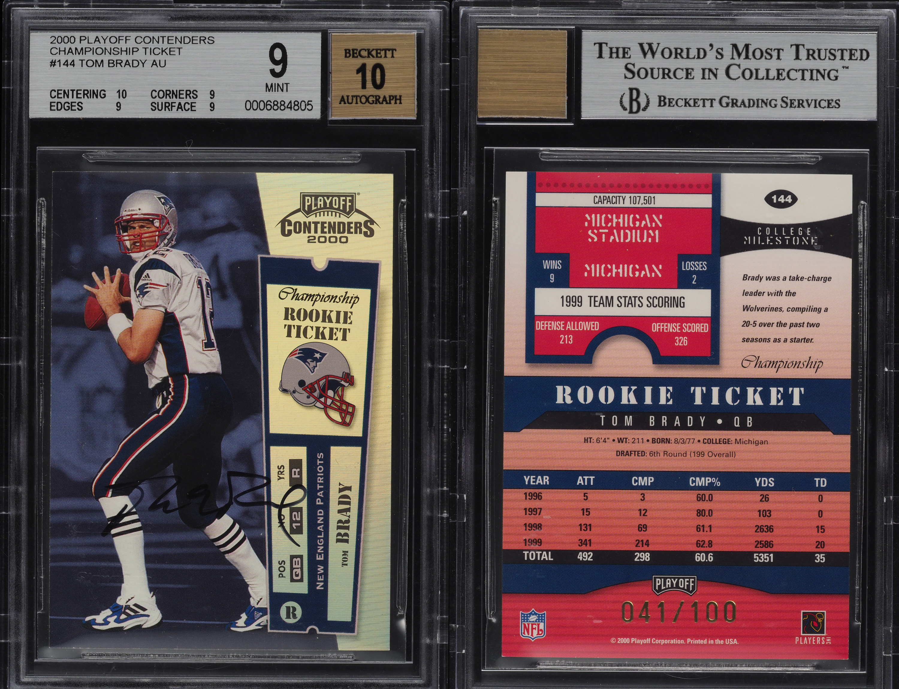 A Tom Brady Rookie Football Card Sold For 400100 The