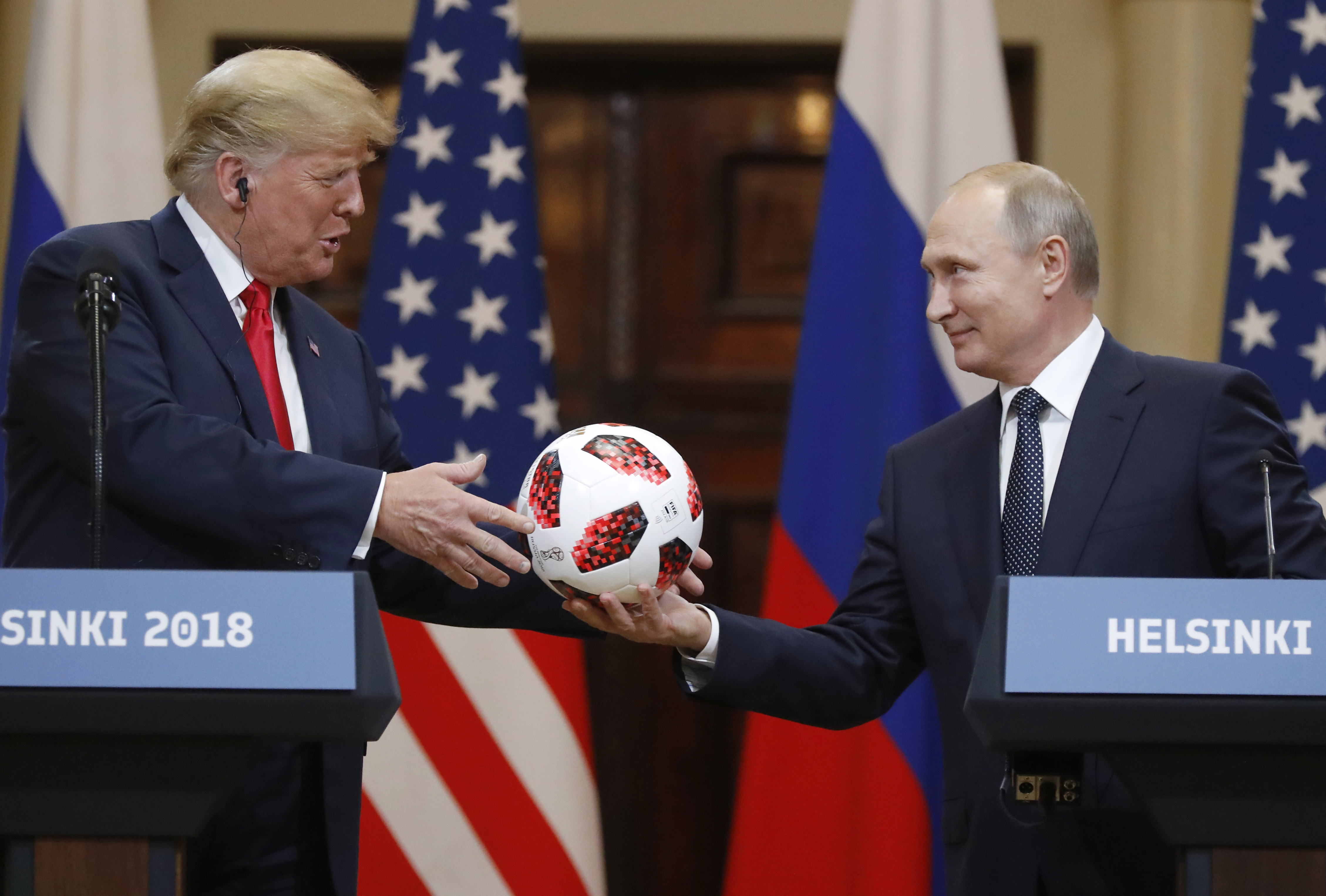 Can Trump give Barron the soccer ball he got from Putin? It's complicated -  The Boston Globe