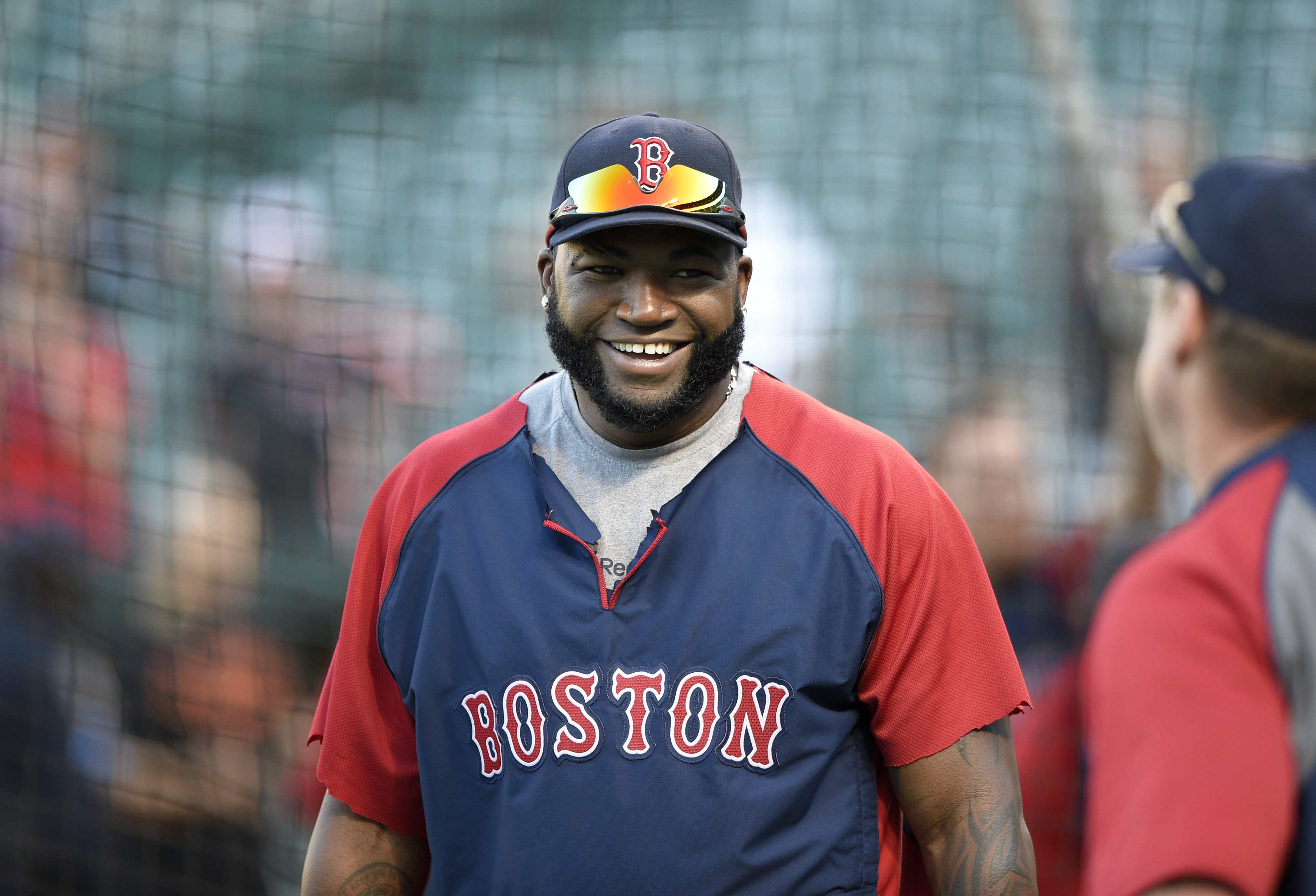 David Ortiz delivers first pitch for tonight's Red Sox-Yankees game