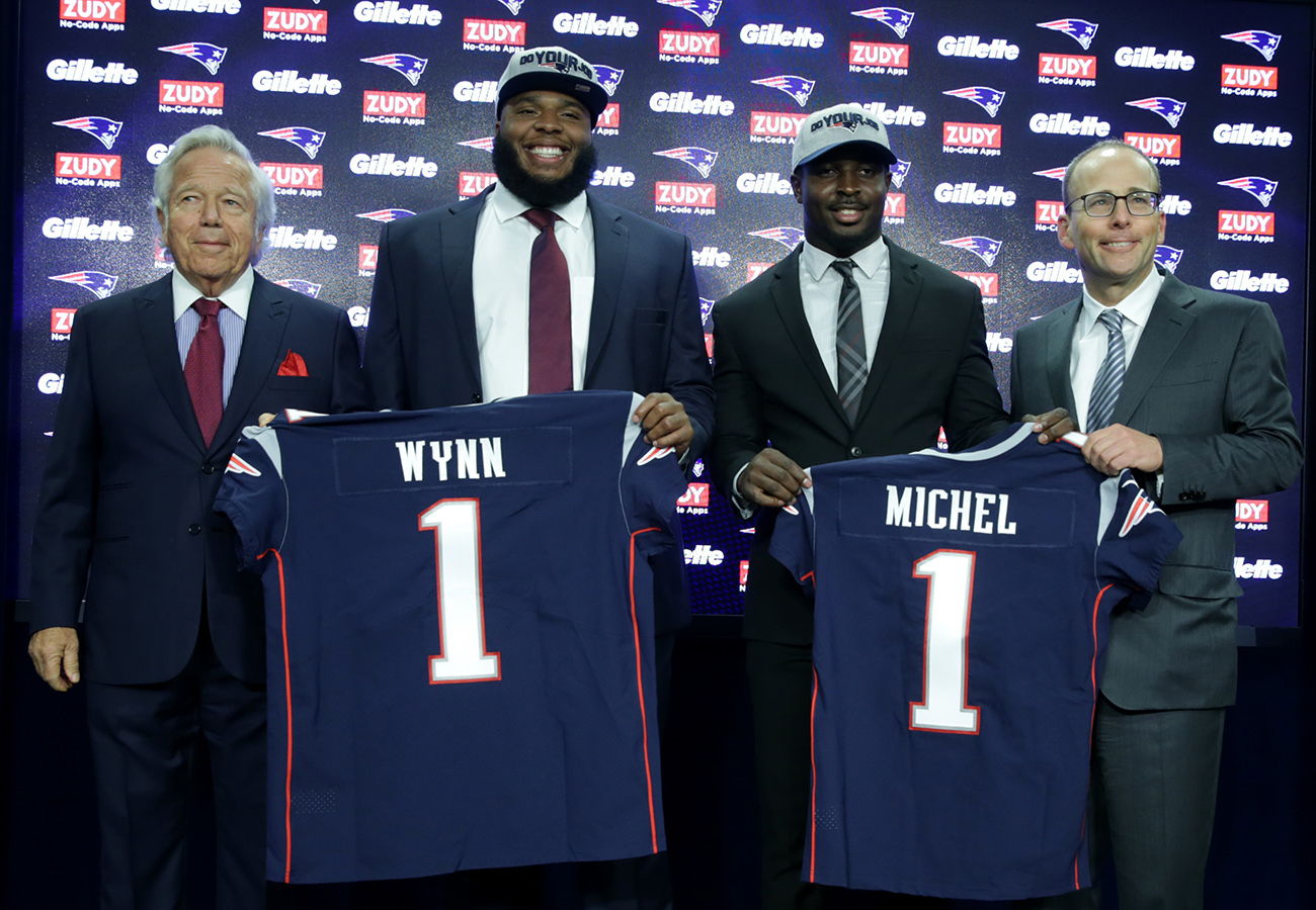 on sale 4ce07 c9ce7 A show of togetherness by Isaiah Wynn and Sony Michel - The ...