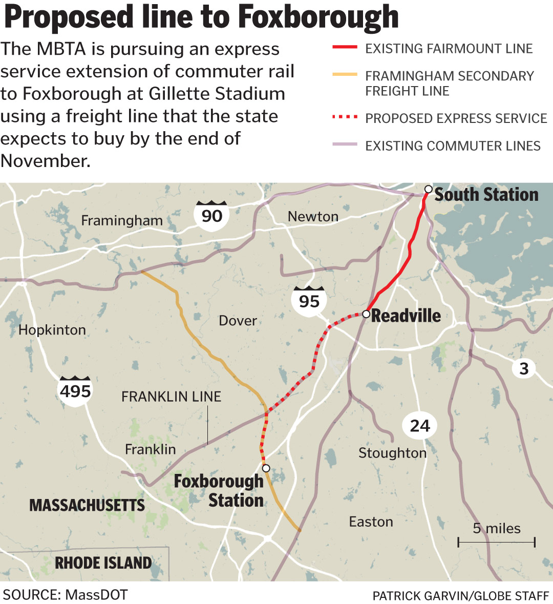 MBTA could extend commuter rail to Gillette Stadium - The Boston Globe