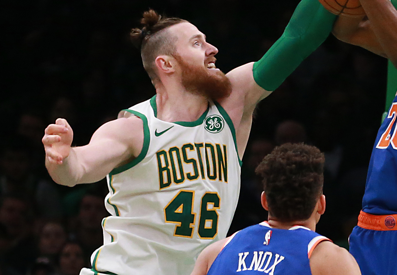 detailed look 4507a db83b Aron Baynes exercises option to stay with Celtics - The ...